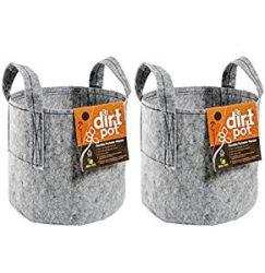 (2)Hydrofarm HGDB10 10 Gallon Dirt Pot Portable Planter