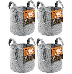 Hydrofarm HGDB15 15 Gallon Dirt Pot Portable Planter With Handles – 4 Pack