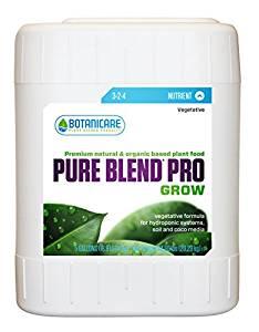 Botanicare PURE BLEND PRO Grow Soil Nutrient 3-2-4 Formula, 5-Gallon
